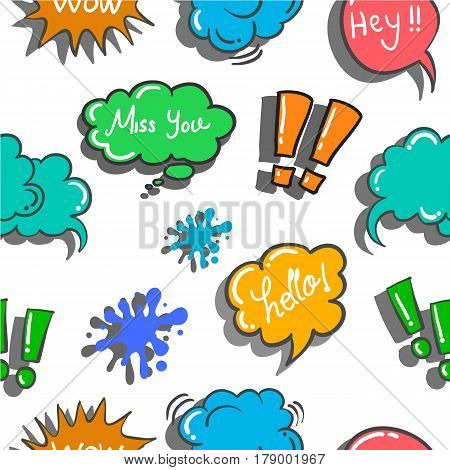 illustration text balloon style doodles collection stock