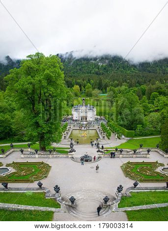 Vertical Panorama Of The Linderhof Palace - Schloss In Germany