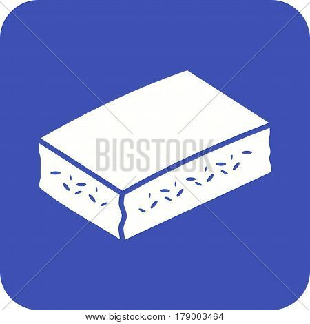Baked, squares, cornbread icon vector image. Can also be used for thanksgiving. Suitable for mobile apps, web apps and print media.