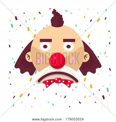 Clown face sad in wig and red nose. Vector isolated icon of cartoon circus funny comic man or character on confetti background