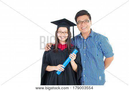 Asian university student and brother celebrating graduation