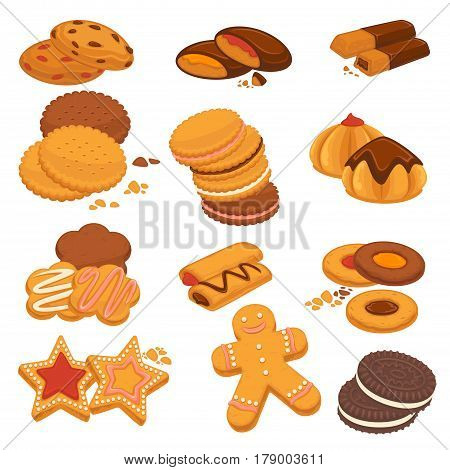 Cookies and biscuits desserts vector isolated icons. Gingerbread stars, man, heats and chocolate cakes and crackers with raisin or fruit berry filling