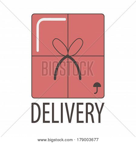 Delivery logo template for post logistics company or express shipping post service of internet shop. Vector symbol of gift box or parcel with bow tie and fragile umbrella mark