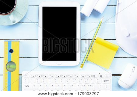 Architect desk or header for architect concept with equipment of creative project.