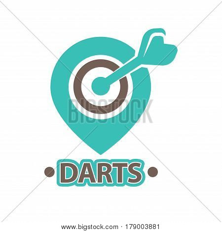 Darts club vector logo template. Isolated icon of arrow in bullseye aim target on dartboard for championship or sport game contest