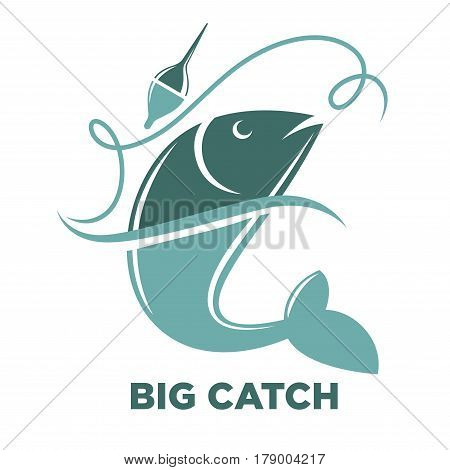 Big fish catch vector logo template. Fishing club or fisher market and fishery industry isolated icon or sign of tuna or salmon fish on rod hook