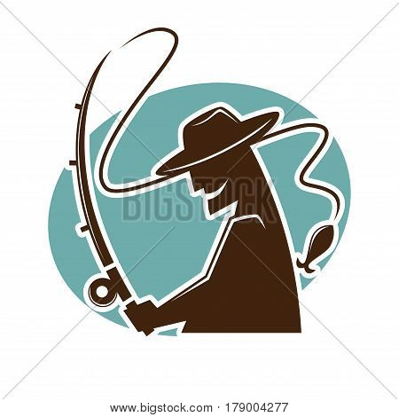 Fisher and fish catch vector logo template for fishery market of sport club. Silhouette icon of fisherman with rod and tackle