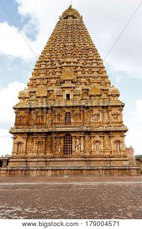 Ancient Brahadeeshwara temple main gopuram captured at Tanjore, India on January 28th, 2017