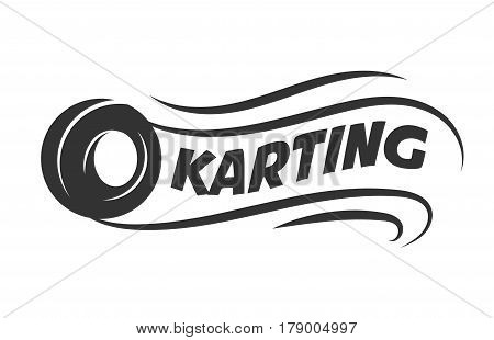 Karting club or kart races vector logo template. Isolated icon or badge of car wheel tire in speed motion for motor sport championship tournament