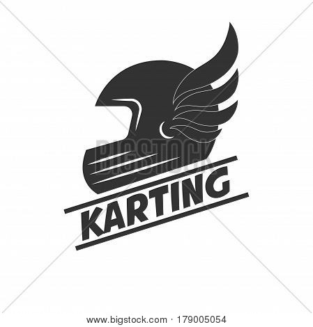 Karting club or kart races vector logo template. Isolated icon of racer driver safety helmet with wings. Badge for motor sport championship tournament