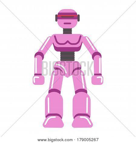 Kid toy robot transformer. Children plaything vector flat isolated icon for kindergarten design element