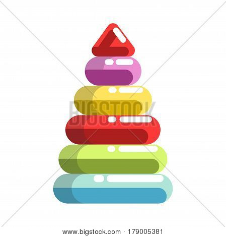 Kid toy pyramid tower constructor. Children plaything vector flat isolated icon for kindergarten design element