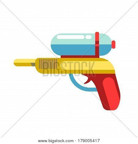Kid toy water gun or squirt pistol. Children plaything vector flat isolated icon for kindergarten design element