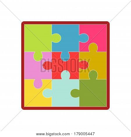 Kid toy puzzle game picture jigsaw tiles. Children plaything vector flat isolated icon for kindergarten design element