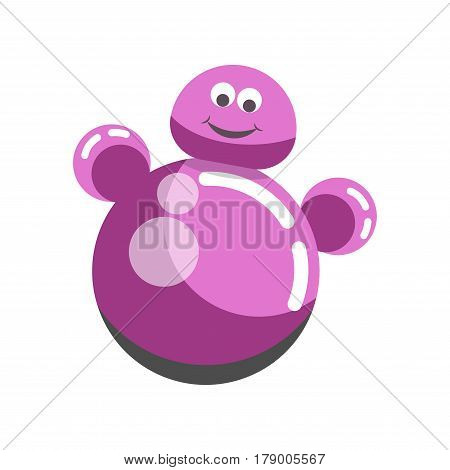 Kid toy roly-poly tumbler wobbly doll. Children plaything vector flat isolated icon for kindergarten design element