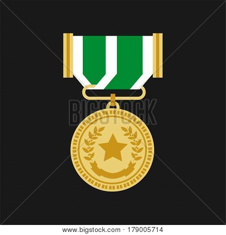 Gold medal award with star, laurel wreath and ribbon chevron. Vector victory flat isolated icon for champion or war veteran soldier honor