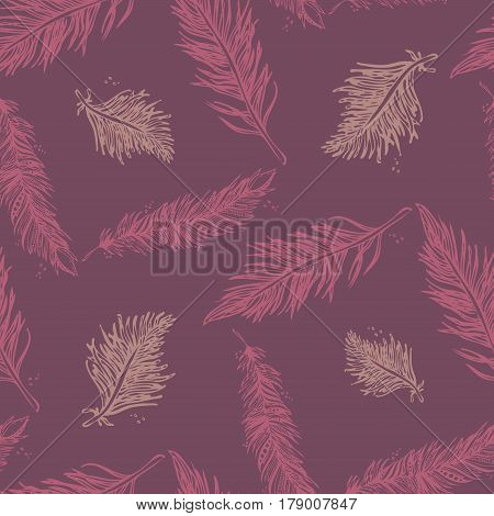 Seamless Pattern With Feathers Pink On A Purple Background. Vintage Artistically Hand Drawn Stylized