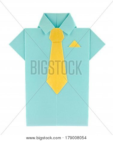 Blue shirt with yellow tie and shawl of origami, isolated on white background.