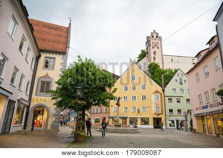 Pedestrian Street In Fussen With Typical Bavarian Buildings.