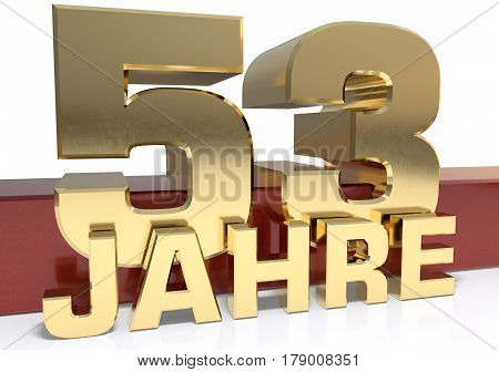 Golden digit fifty three and the word of the year. Translated from the German - years.3D illustration