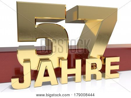 Golden digit fifty seven and the word of the year. Translated from the German - years.3D illustration