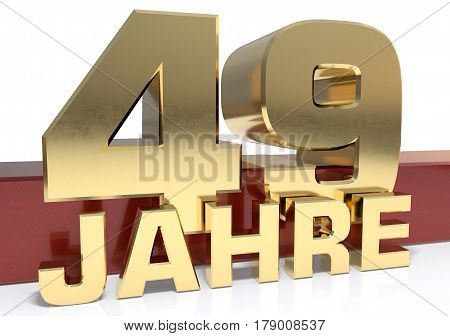 Golden digit forty nine and the word of the year. Translated from the German - years.3D illustration