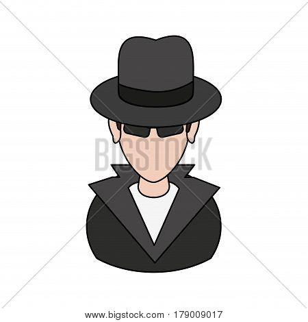 suspicious looking man criminal icon image vector illustration design