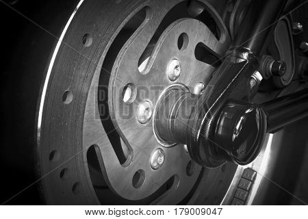 Close up photo of motorcycle disc brake