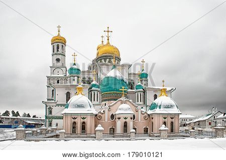 The new Jerusalem monastery Istra Russia road to the bell tower in winter