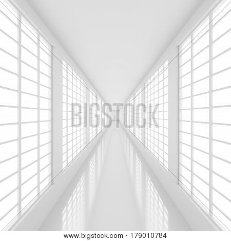 Futuristic empty white corridor with bright lights from windows and glossy floor. Abstract architectural interior of the future. 3D Rendering.