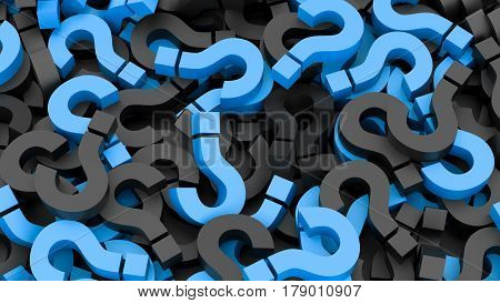 Black and blue question marks background with sharpness all around the frame. 3D Rendering.