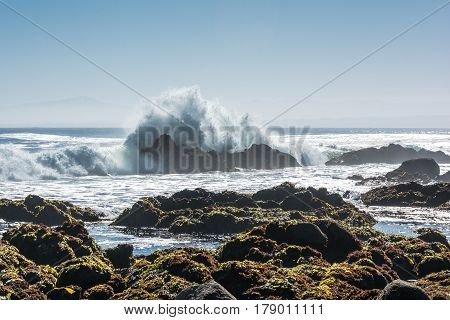 Waves on the rocky coast of Monterey, California