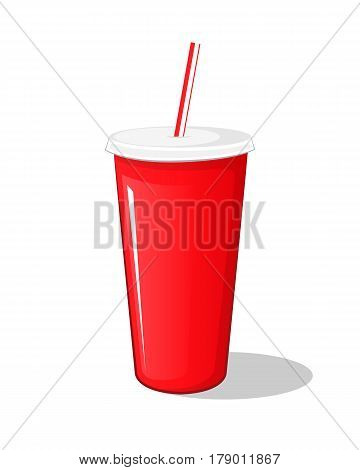 Cola drink in a red plastic pot cardboard cup with chopsticks isolated vector illustration on a white background. Carbonated drink packaged sweet symbol icon for your projects.