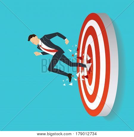 businessman breaking target archery to Successful vector. Business concept illustration.