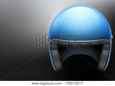 Background of Blue motorcycle or scooter helmet with glass visor. Space for your text. Transport Illustration of safety.