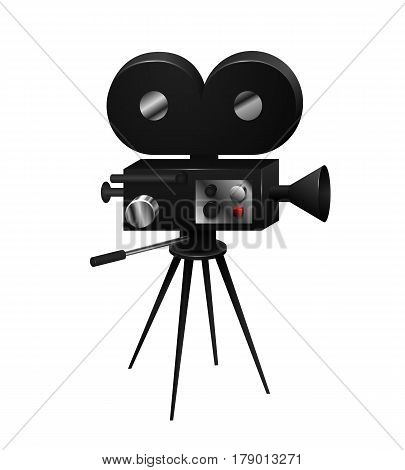 Camcorder vintage retro isolated in a realistic style on a white background Vector Illustration. Device for cinematography shooting movies, video on film coil element for your Total project.