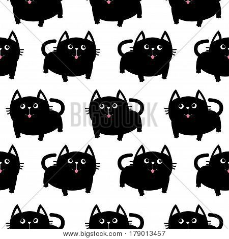 Black cat. Big tail whisker tongue eyes. Cute cartoon character. Baby pet collection. Seamless Pattern Wrapping paper textile template White background. Flat design. Vector illustration