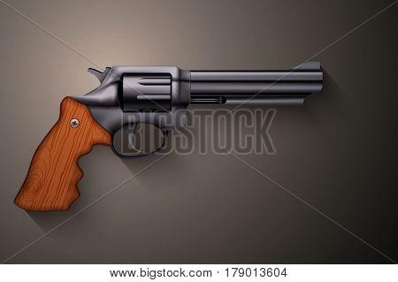 Big Revolver. Black gun metal. Illustration on dark background.