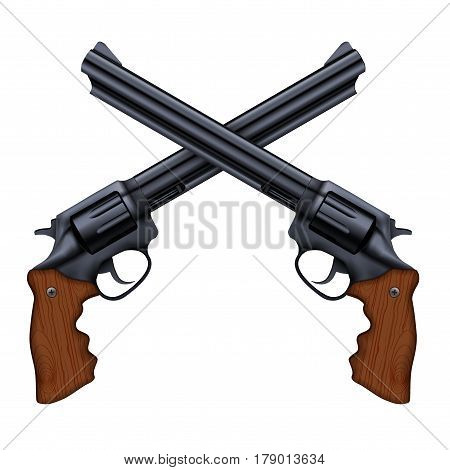 Cross of Big Black Revolvers. Symbol of power and defense.  Illustration isolated on white background.
