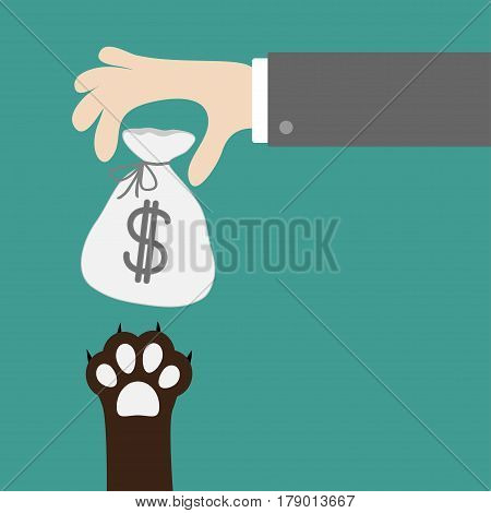 Hand golding money bag with dollar sign. Dog cat paw print taking gift. Adopt donate help love pet animal. Helping hand concept. Flat design style. Green background. Vector illustration.