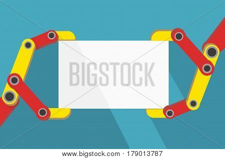 Robot hands holding blank sign with space for text. Flat Design. Industrial Illustration