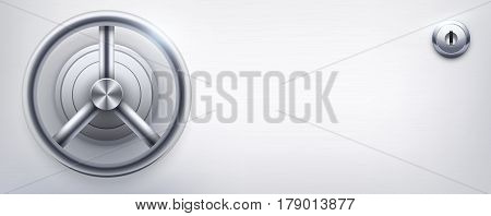 Background with a safe and and lock and place for text. Banking Finance Illustration