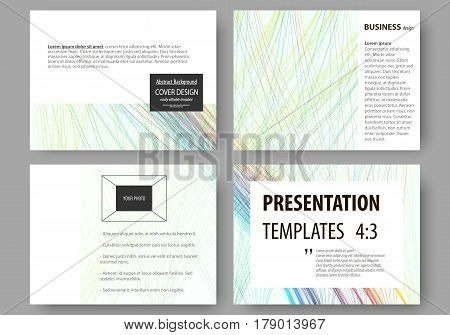 Set of business templates for presentation slides. Easy editable layouts, vector illustration. Colorful background with abstract waves, lines. Bright color curves. Motion design