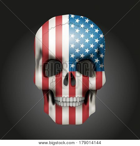 Skull with texture USA flag.  Illustration isolated on background.