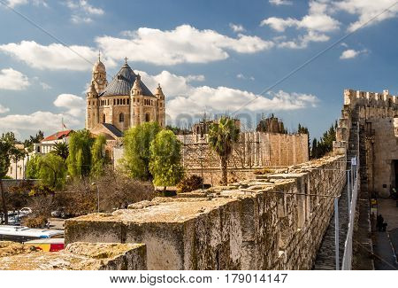 View of the Dormition Abbey from the wall of the Old City of Jerusalem Israel