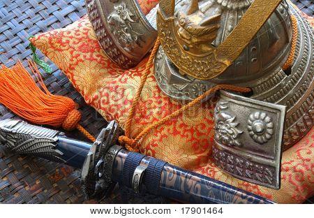 Samurai sword and helmet