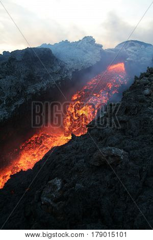 The magma flowing from Mt. Etna. sicily