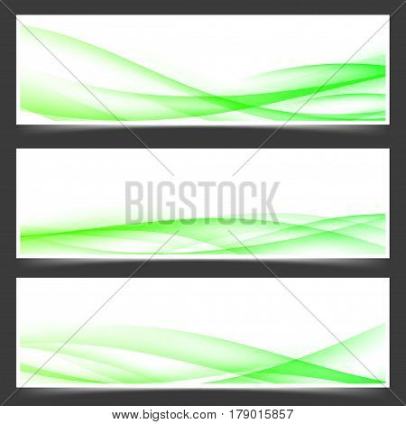 Green fresh spring web header footer templates with speed wind swoosh wave bright lines. Vector illustration