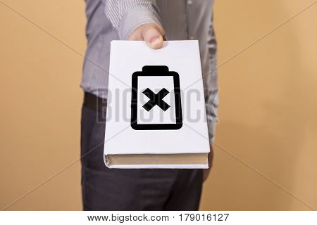 Man Holding A Book. Battery Life Concept.