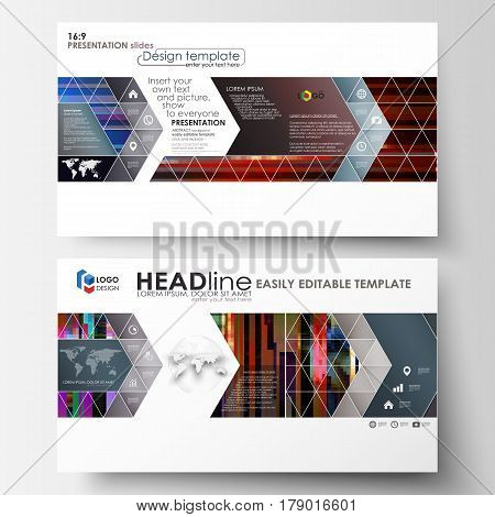 Business templates in HD format for presentation slides. Easy editable abstract layouts in flat design, vector illustration. Glitched background made of colorful pixel mosaic. Digital decay, signal error, television fail. Trendy glitch backdrop.